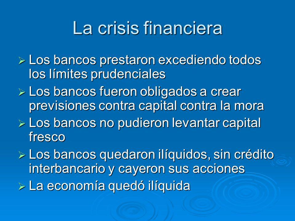 La crisis financiera Los bancos prestaron excediendo todos los límites prudenciales Los bancos prestaron excediendo todos los límites prudenciales Los
