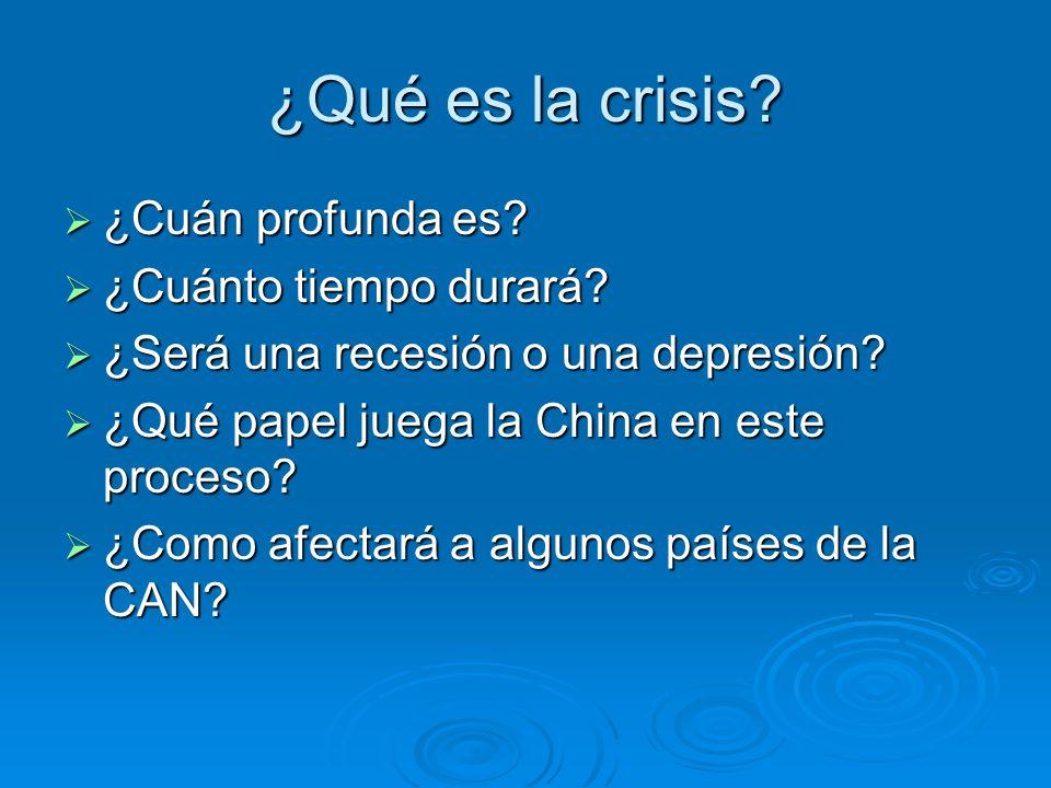 ¿Qué es la crisis? ¿Cuán profunda es? ¿Cuán profunda es? ¿Cuánto tiempo durará? ¿Cuánto tiempo durará? ¿Será una recesión o una depresión? ¿Será una r