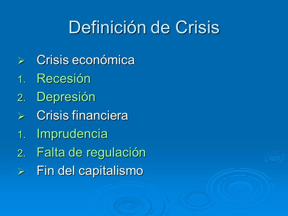 Definición de Crisis Crisis económica Crisis económica 1. Recesión 2. Depresión Crisis financiera Crisis financiera 1. Imprudencia 2. Falta de regulac
