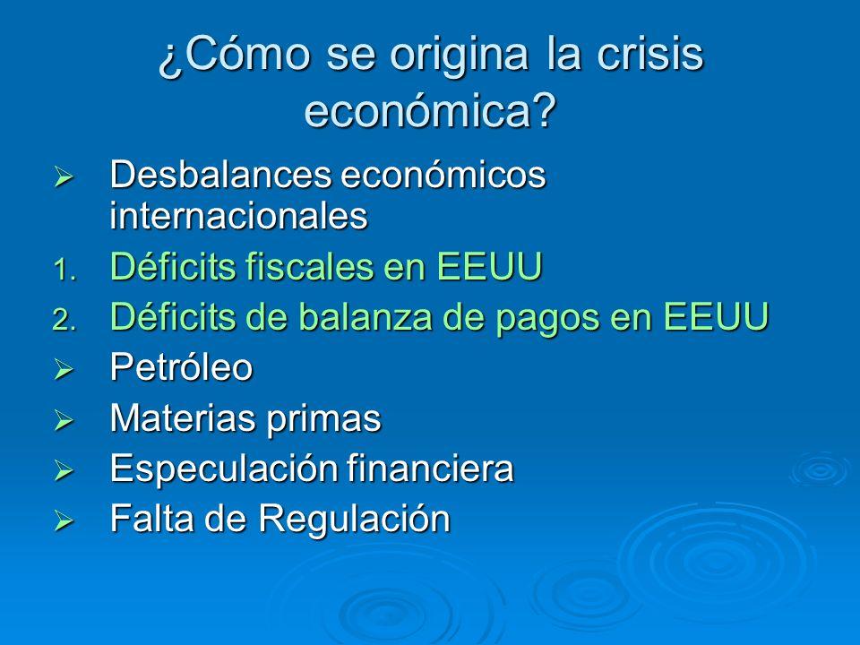 ¿Cómo se origina la crisis económica? Desbalances económicos internacionales Desbalances económicos internacionales 1. Déficits fiscales en EEUU 2. Dé