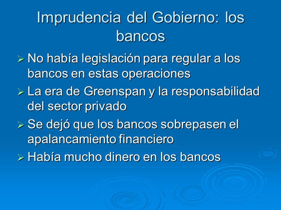Imprudencia del Gobierno: los bancos No había legislación para regular a los bancos en estas operaciones No había legislación para regular a los banco