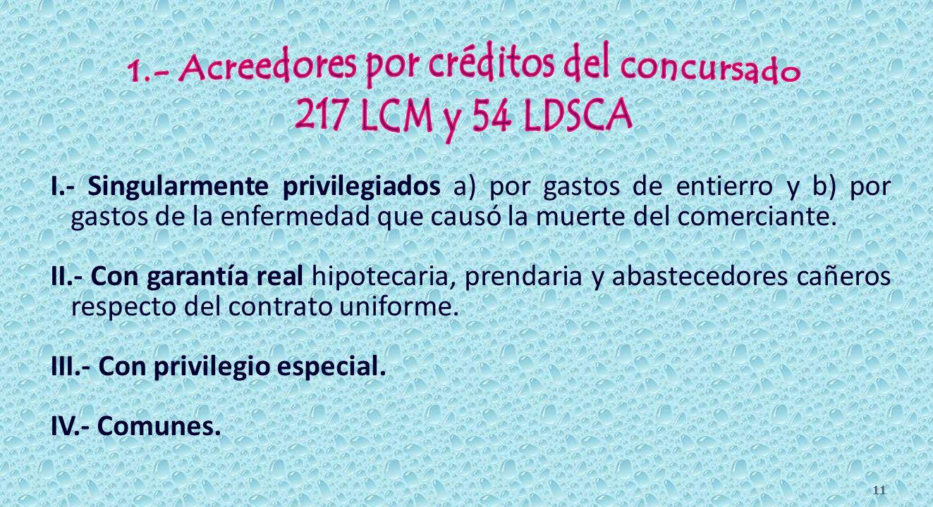 10 Acreedores concursales 1.- Del concursado Arts. 217 LCM y 54 LDSCA 2.- Contra la Masa Art. 224 I.- Singularmente privilegiado. II.- Garantía real.