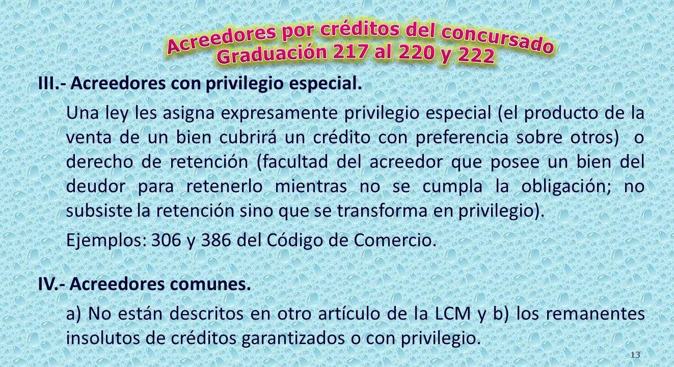 I.- Singularmente privilegiados a) por gastos de entierro y b) por gastos de la enfermedad que causó la muerte del comerciante.