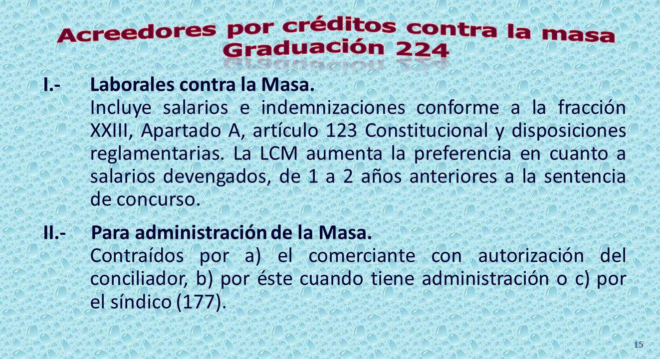 I.- Laborales contra la Masa. II.- Para administración de la Masa. III.- Gastos normales de seguridad, refacción, conservación y administración. IV.-