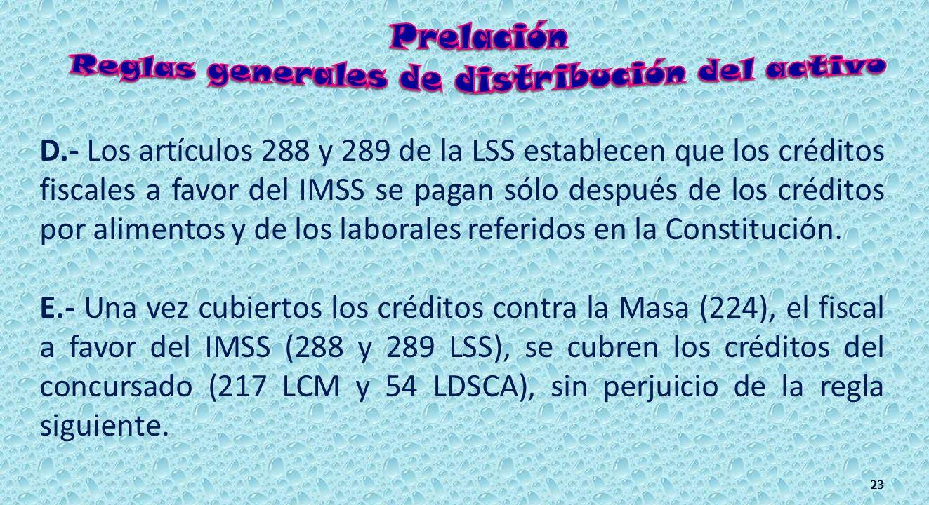 Los artículos 288 y 289 de la LSS establecen que los créditos fiscales a favor del IMSS se pagan insertos entre los descritos por el artículo 224. C.-