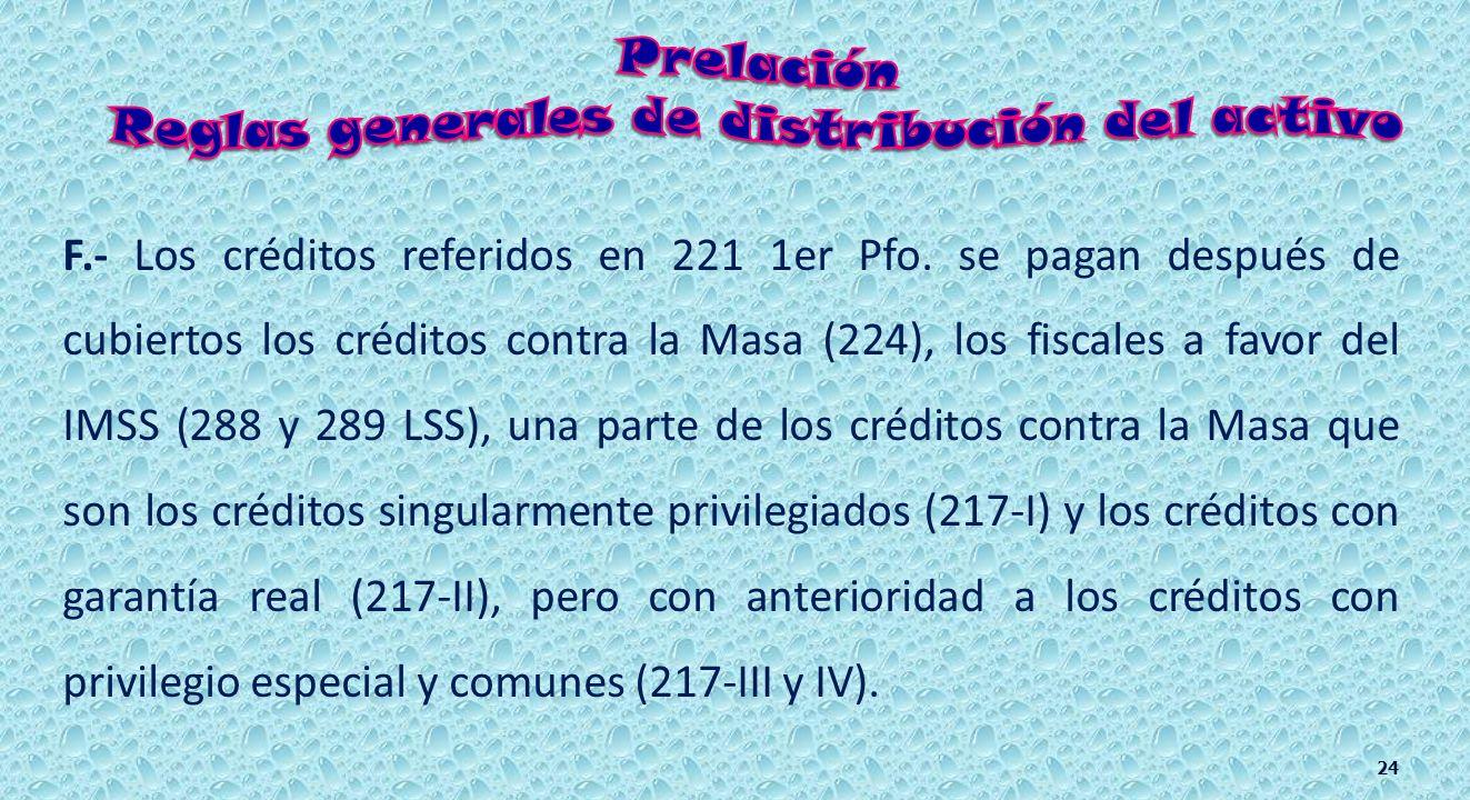 D.- Los artículos 288 y 289 de la LSS establecen que los créditos fiscales a favor del IMSS se pagan sólo después de los créditos por alimentos y de l