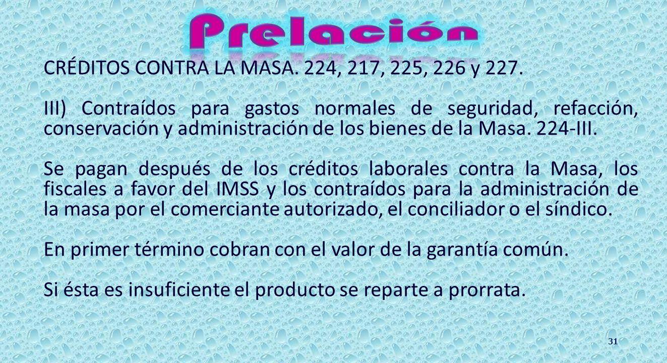 CRÉDITOS CONTRA LA MASA. 224, 217 y 225. II) Los contraídos para la administración de la Masa por el comerciante con autorización del Conciliador, o c
