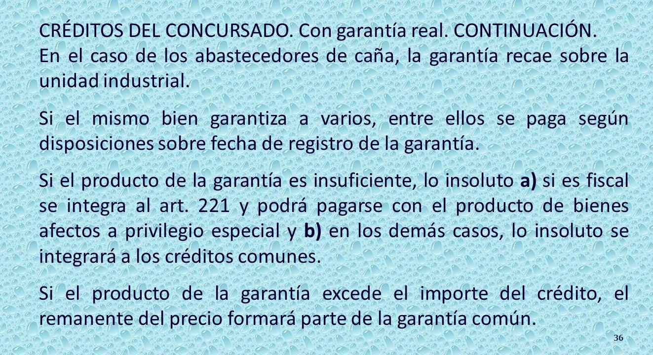 CRÉDITOS DEL CONCURSADO. 217 al 220 y 222. II).- Acreedores con garantía real.