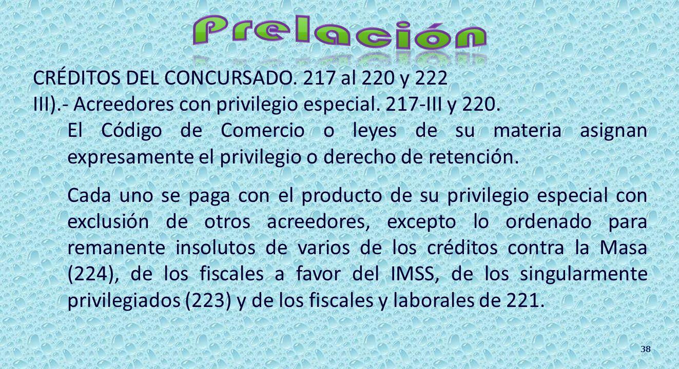OTROS CRÉDITOS PREVISTOS EN EL ARTÍCULO 221. a)Laborales diferentes de los créditos contra la Masa según 224-I. b)Fiscales que no cuentan con garantía