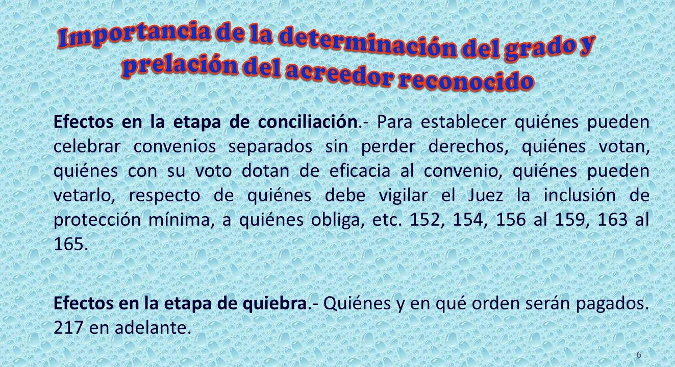 Acreedor.- Puede plantear al Conciliador, en formato, una solicitud que contiene entre otros datos el grado y prelación que a su juicio corresponde al