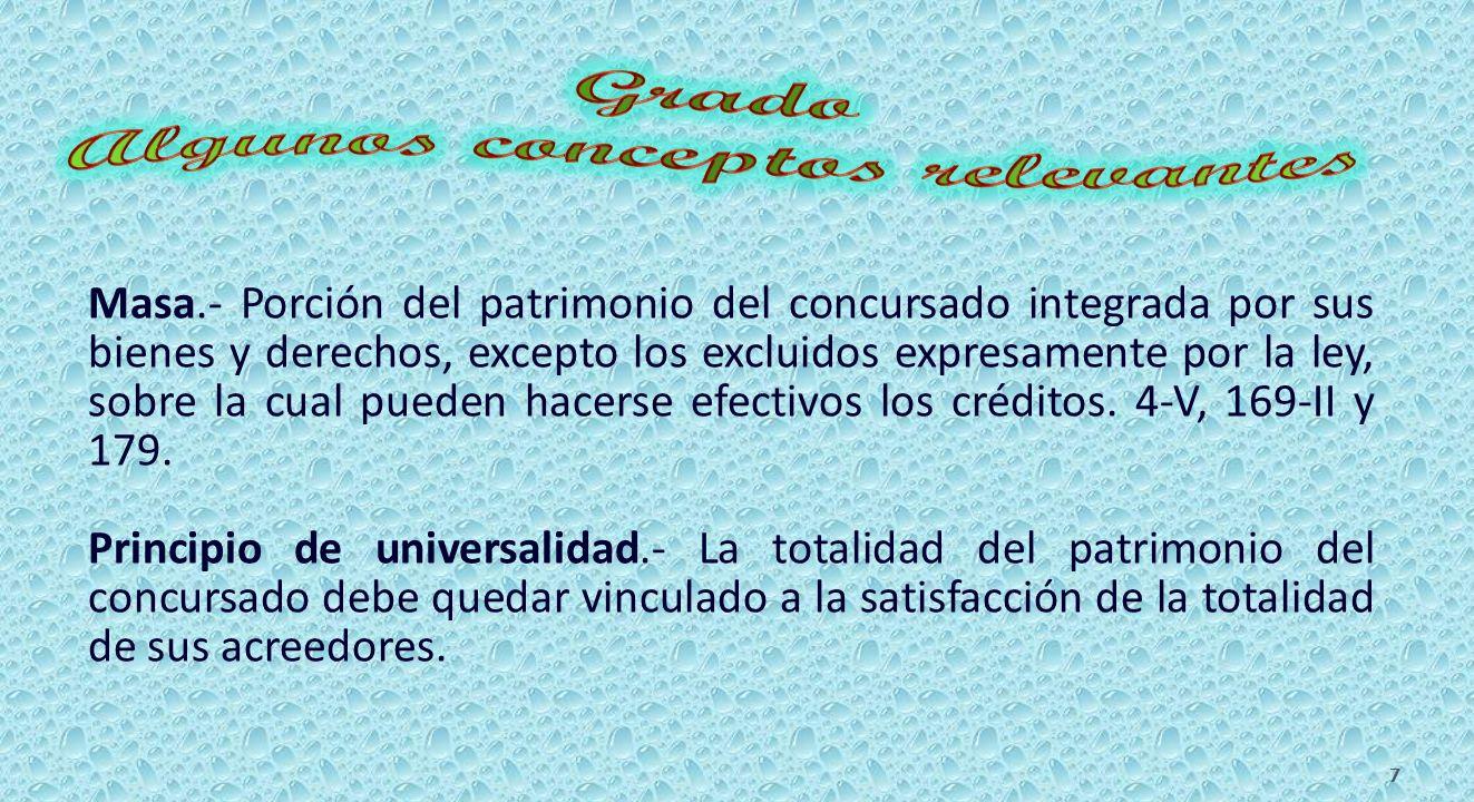 Masa.- Porción del patrimonio del concursado integrada por sus bienes y derechos, excepto los excluidos expresamente por la ley, sobre la cual pueden hacerse efectivos los créditos.