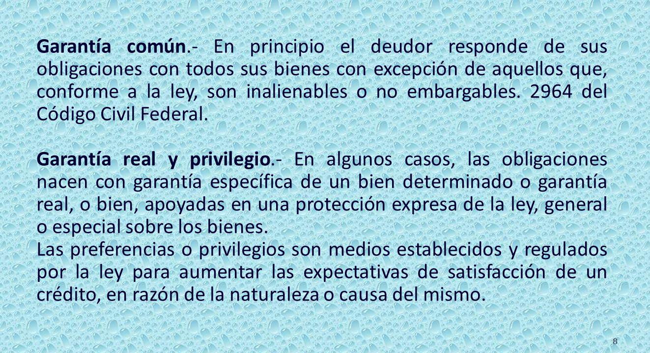 Garantía común.- En principio el deudor responde de sus obligaciones con todos sus bienes con excepción de aquellos que, conforme a la ley, son inalienables o no embargables.