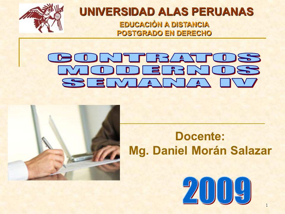 1 UNIVERSIDAD ALAS PERUANAS EDUCACIÓN A DISTANCIA POSTGRADO EN DERECHO Docente: Mg.