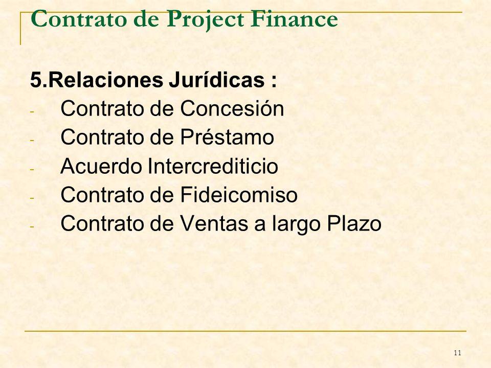 11 Contrato de Project Finance 5.Relaciones Jurídicas : - Contrato de Concesión - Contrato de Préstamo - Acuerdo Intercrediticio - Contrato de Fideicomiso - Contrato de Ventas a largo Plazo