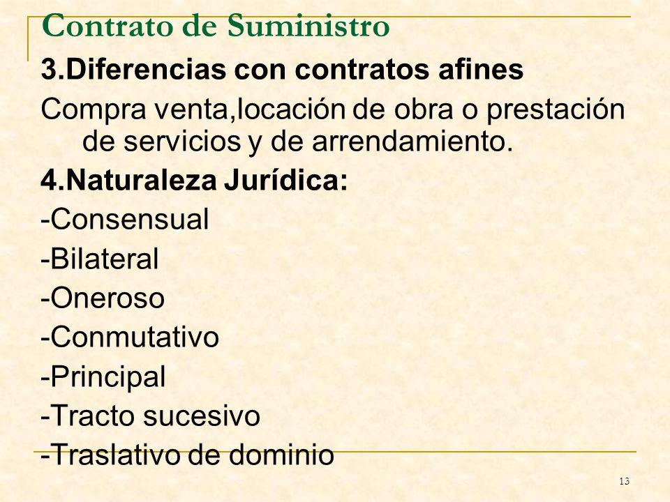 13 Contrato de Suministro 3.Diferencias con contratos afines Compra venta,locación de obra o prestación de servicios y de arrendamiento.