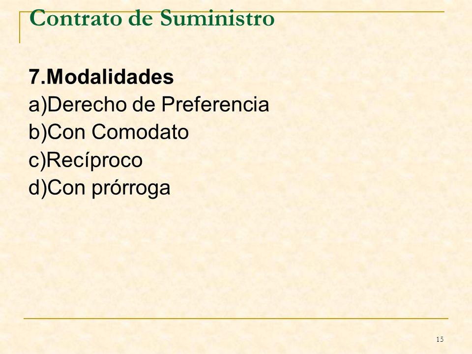 15 Contrato de Suministro 7.Modalidades a)Derecho de Preferencia b)Con Comodato c)Recíproco d)Con prórroga B