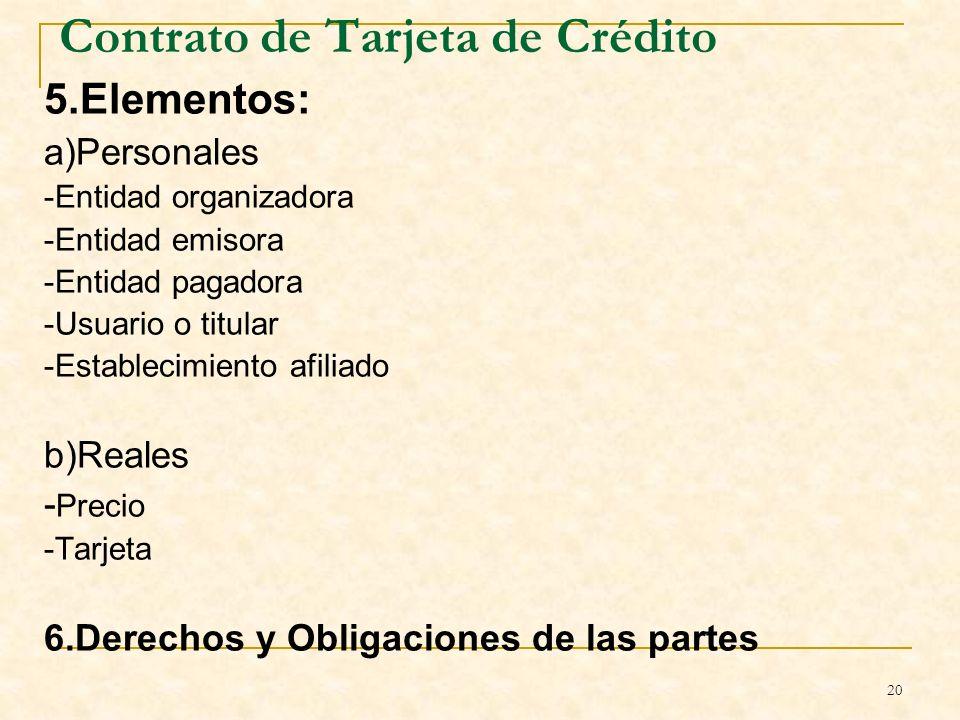 20 Contrato de Tarjeta de Crédito 5.Elementos: a)Personales -Entidad organizadora -Entidad emisora -Entidad pagadora -Usuario o titular -Establecimiento afiliado b)Reales - Precio -Tarjeta 6.Derechos y Obligaciones de las partes B