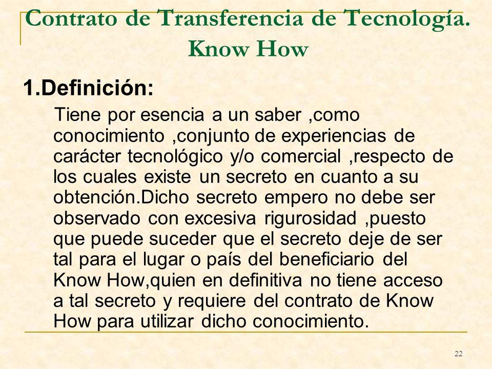 22 Contrato de Transferencia de Tecnología.
