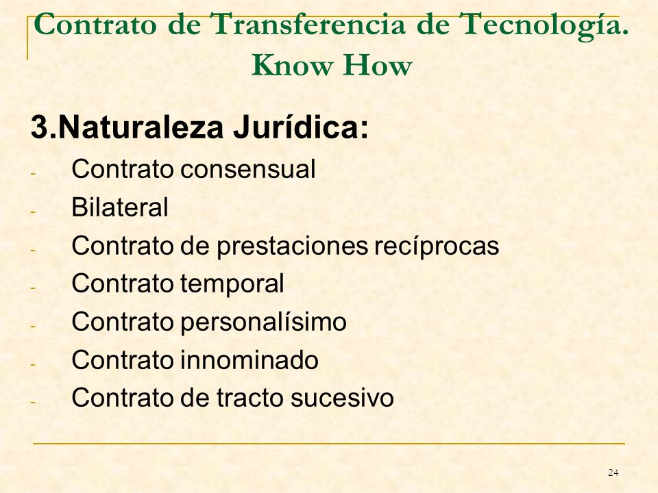 24 Contrato de Transferencia de Tecnología.