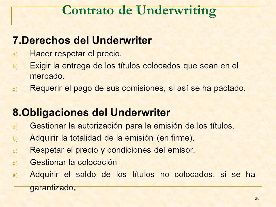 30 Contrato de Underwriting 7.Derechos del Underwriter a) Hacer respetar el precio.