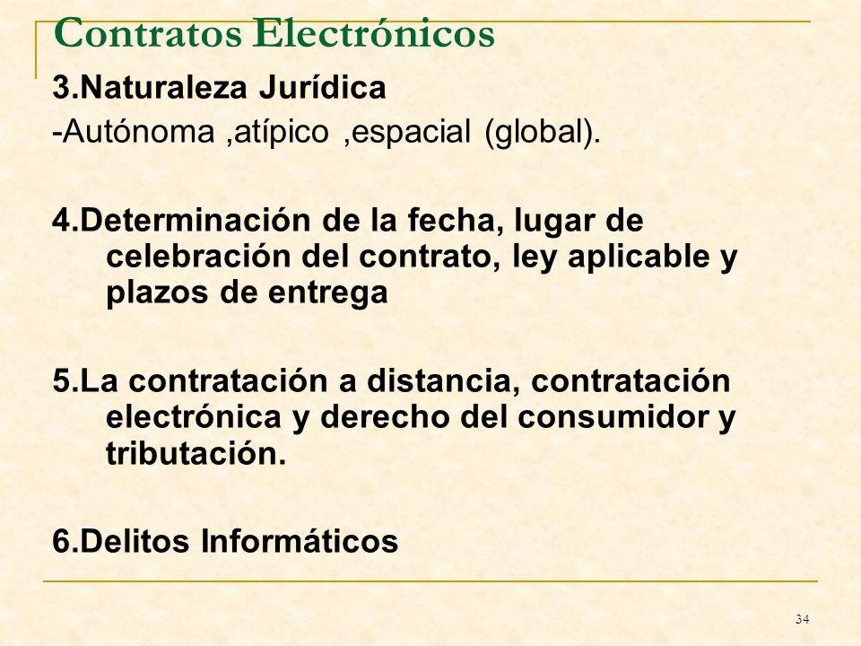 34 Contratos Electrónicos 3.Naturaleza Jurídica -Autónoma,atípico,espacial (global).