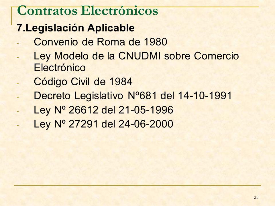 35 Contratos Electrónicos 7.Legislación Aplicable - Convenio de Roma de 1980 - Ley Modelo de la CNUDMI sobre Comercio Electrónico - Código Civil de 1984 - Decreto Legislativo Nº681 del 14-10-1991 - Ley Nº 26612 del 21-05-1996 - Ley Nº 27291 del 24-06-2000 B