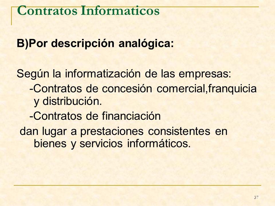 37 Contratos Informaticos B)Por descripción analógica: Según la informatización de las empresas: -Contratos de concesión comercial,franquicia y distribución.