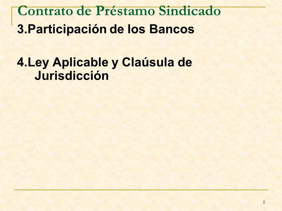 8 Contrato de Préstamo Sindicado 3.Participación de los Bancos 4.Ley Aplicable y Claúsula de Jurisdicción