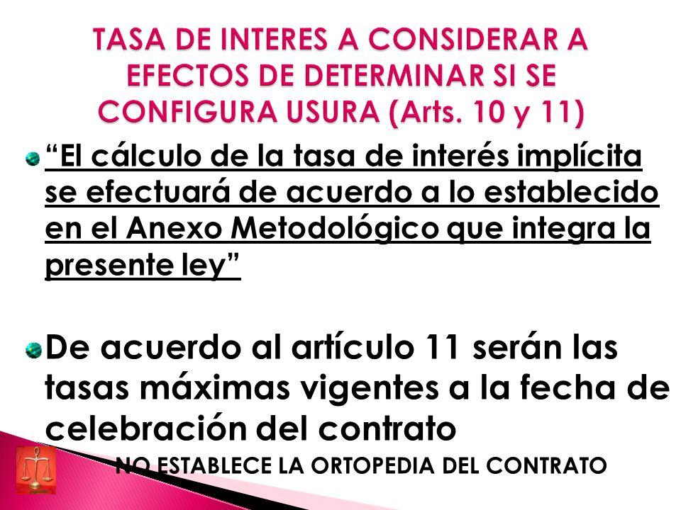 El cálculo de la tasa de interés implícita se efectuará de acuerdo a lo establecido en el Anexo Metodológico que integra la presente ley De acuerdo al artículo 11 serán las tasas máximas vigentes a la fecha de celebración del contrato NO ESTABLECE LA ORTOPEDIA DEL CONTRATO