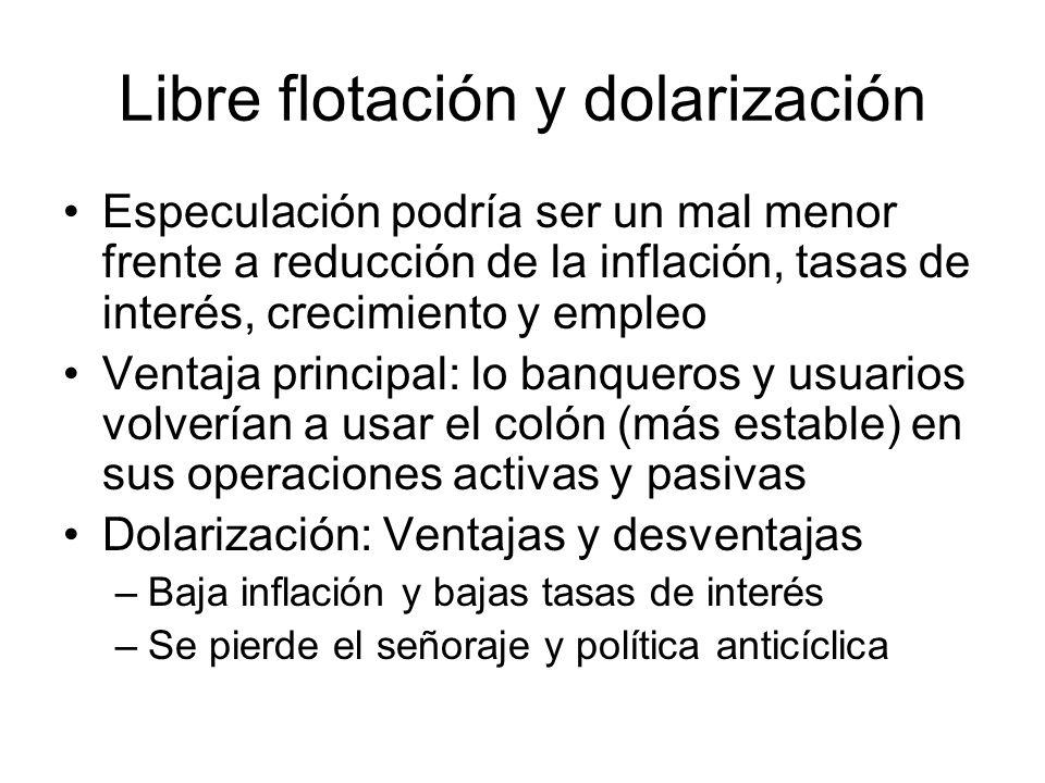 Libre flotación y dolarización Especulación podría ser un mal menor frente a reducción de la inflación, tasas de interés, crecimiento y empleo Ventaja