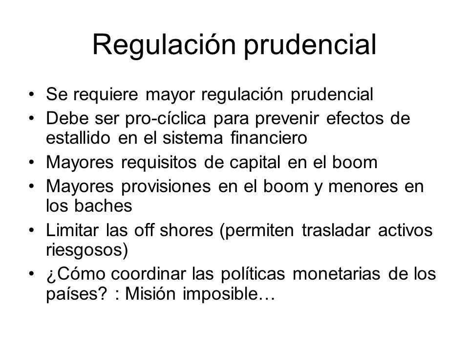 Regulación prudencial Se requiere mayor regulación prudencial Debe ser pro-cíclica para prevenir efectos de estallido en el sistema financiero Mayores