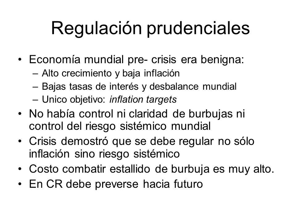 Regulación prudenciales Economía mundial pre- crisis era benigna: –Alto crecimiento y baja inflación –Bajas tasas de interés y desbalance mundial –Uni