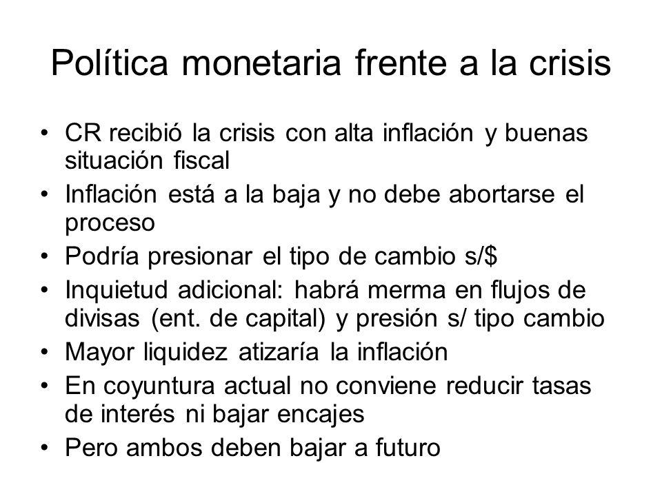 Política monetaria frente a la crisis Existen muchas dudas sobre inflar la economía y no reactivar la producción Hay una razón de fondo: el principal motor de la economía de CR es el externo, pero está en recesión.