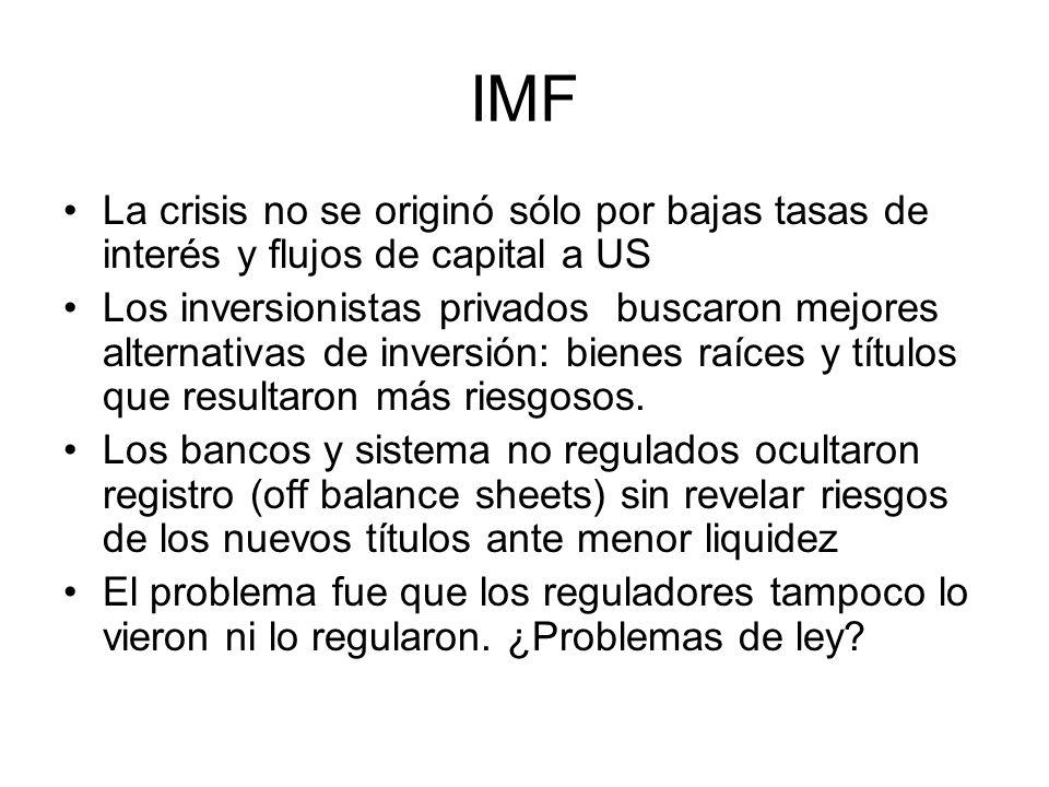 IMF La crisis no se originó sólo por bajas tasas de interés y flujos de capital a US Los inversionistas privados buscaron mejores alternativas de inversión: bienes raíces y títulos que resultaron más riesgosos.