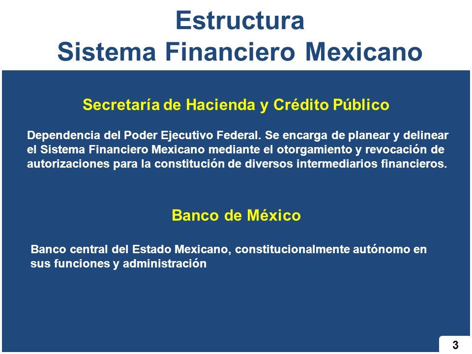 4 Estructura Sistema Financiero Mexicano Comisión Nacional Bancaria y de Valores Órgano desconcentrado de la Secretaría de Hacienda y Crédito Público (SHCP) cuyas funciones son supervisar de manera eficiente, que la operación de los sectores asegurador y afianzador se apegue al marco normativo, preservando la solvencia y estabilidad financiera de las instituciones para garantizar los intereses del público usuario, así como promover el sano desarrollo de estos sectores con el propósito de extender la cobertura de sus servicios a la mayor parte posible de la población.
