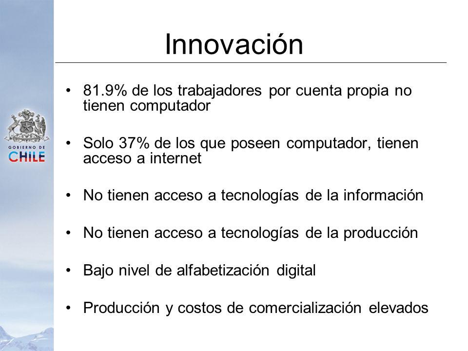 Innovación 81.9% de los trabajadores por cuenta propia no tienen computador Solo 37% de los que poseen computador, tienen acceso a internet No tienen acceso a tecnologías de la información No tienen acceso a tecnologías de la producción Bajo nivel de alfabetización digital Producción y costos de comercialización elevados