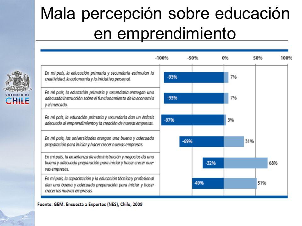 Mala percepción sobre educación en emprendimiento