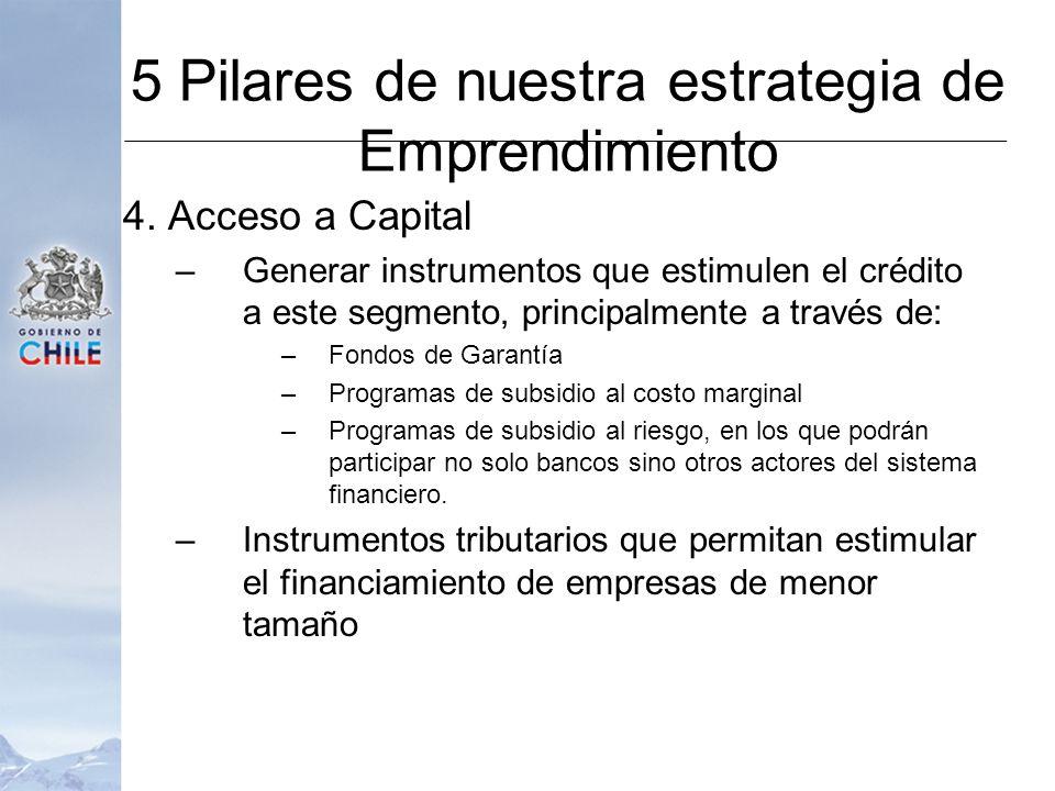4. Acceso a Capital –Generar instrumentos que estimulen el crédito a este segmento, principalmente a través de: –Fondos de Garantía –Programas de subs