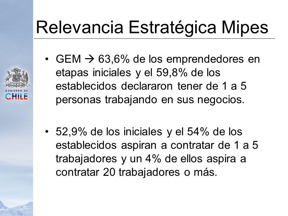 Relevancia Estratégica Mipes GEM 63,6% de los emprendedores en etapas iniciales y el 59,8% de los establecidos declararon tener de 1 a 5 personas trabajando en sus negocios.