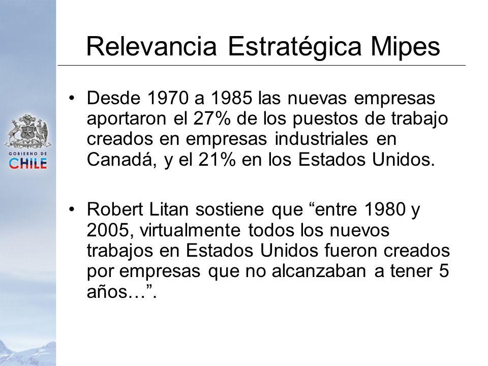 Relevancia Estratégica Mipes Desde 1970 a 1985 las nuevas empresas aportaron el 27% de los puestos de trabajo creados en empresas industriales en Canadá, y el 21% en los Estados Unidos.