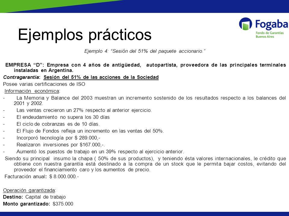 Ejemplos prácticos Ejemplo 4: Sesión del 51% del paquete accionario. EMPRESA D: Empresa con 4 años de antigüedad, autopartista, proveedora de las prin