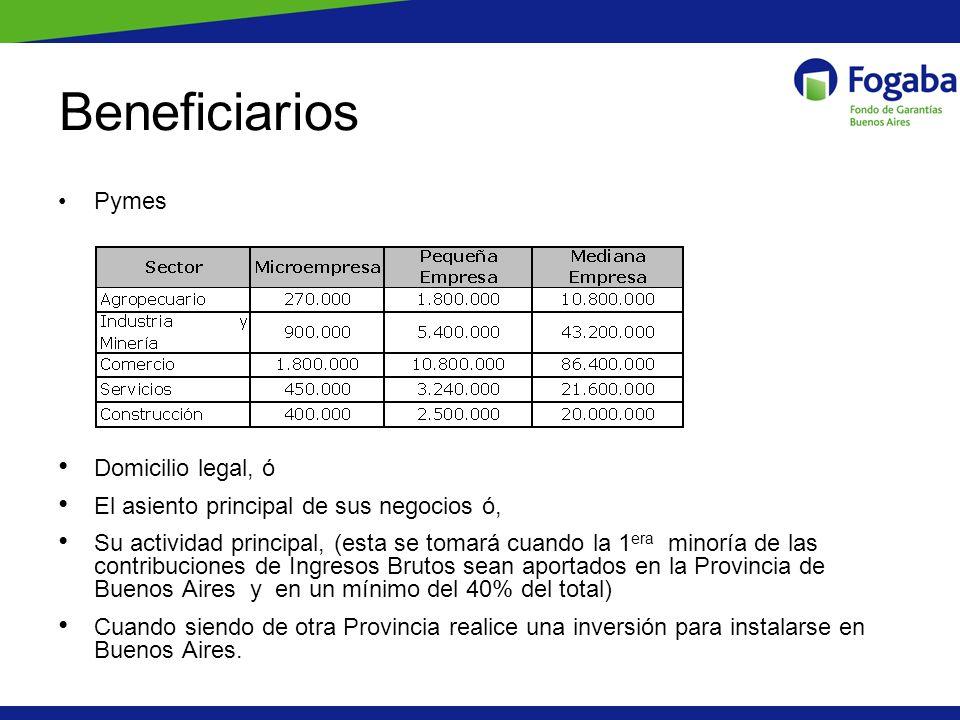 Pymes asistidas por sector En cantidad de garantías 2217 Pymes asistidas por $139 Millones