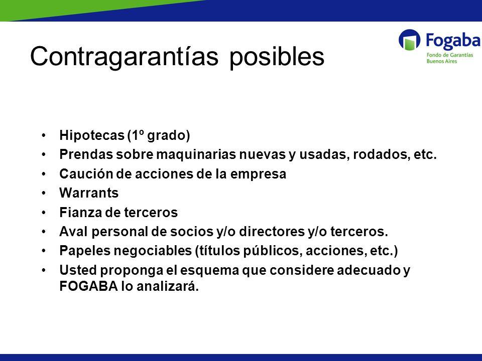 Contragarantías posibles Hipotecas (1º grado) Prendas sobre maquinarias nuevas y usadas, rodados, etc. Caución de acciones de la empresa Warrants Fian