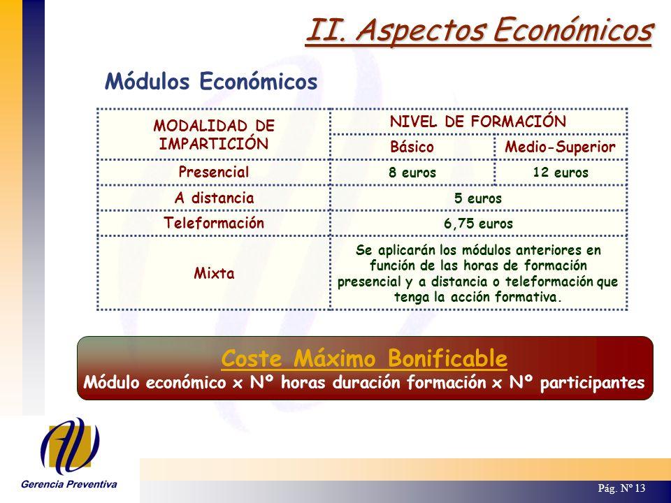 II. Aspectos Económicos Pág. Nº 13 Módulos Económicos MODALIDAD DE IMPARTICIÓN NIVEL DE FORMACIÓN BásicoMedio-Superior Presencial 8 euros12 euros A di