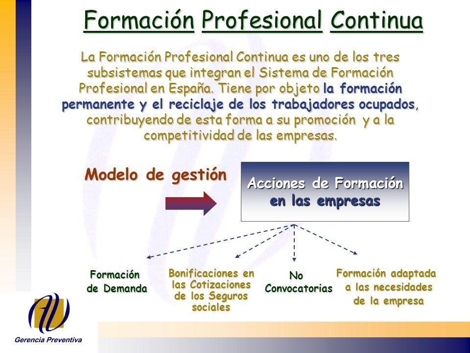 Formación Profesional Continua Formación Profesional Continua Modelo de gestión Acciones de Formación en las empresas Formación de Demanda Bonificacio