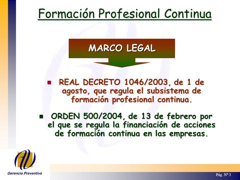 Formación Profesional Continua Pág. Nº 3 MARCO LEGAL REAL DECRETO 1046/2003, de 1 de agosto, que regula el subsistema de formación profesional continu