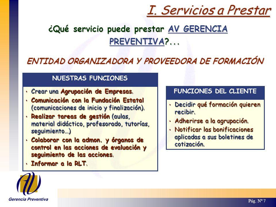 I. Servicios a Prestar Pág. Nº 7 ¿Qué servicio puede prestar AV GERENCIA PREVENTIVA?... Crear una Agrupación de Empresas. Crear una Agrupación de Empr
