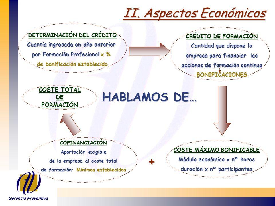 II. Aspectos Económicos HABLAMOS DE… COSTE TOTAL DE FORMACIÓN COFINANCIACIÓN Aportación exigible de la empresa al coste total de formación: Mínimos es