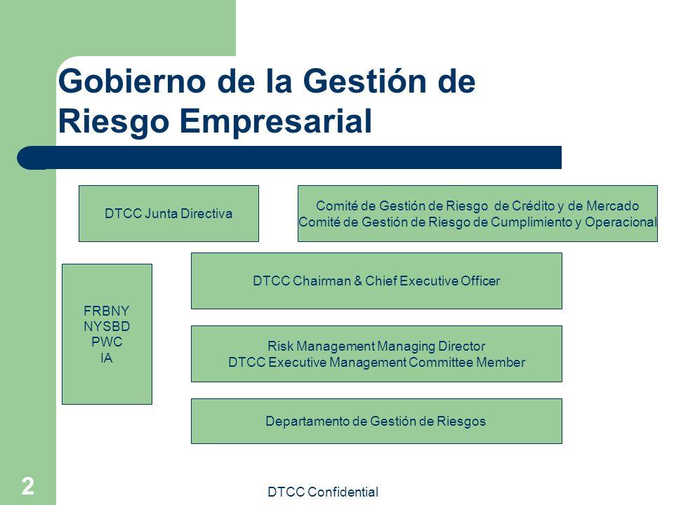 DTCC Confidential 2 Gobierno de la Gestión de Riesgo Empresarial DTCC Junta Directiva Comité de Gestión de Riesgo de Crédito y de Mercado Comité de Ge