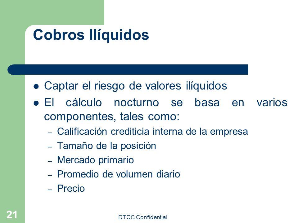 DTCC Confidential 21 Cobros Ilíquidos Captar el riesgo de valores ilíquidos El cálculo nocturno se basa en varios componentes, tales como: – Calificac